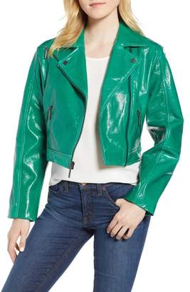 Kenneth Cole New York Kenneth Cole Crop Patent Leather Moto Jacket