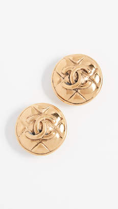 Chanel What Goes Around Comes Around Quilted Round Earrings