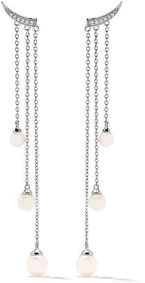 Yoko London Trend パール&ダイヤモンド ドロップピアス 18Kホワイトゴールド
