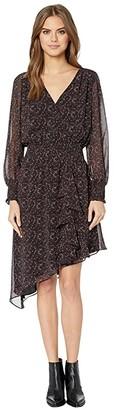 1 STATE 1.STATE Long Sleeve Asymmetric Hem Baroque Floral Dress