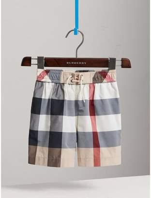 Burberry Check Technical Cotton Swim Shorts
