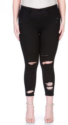 Cello Plus Size Black Destructed Skinny Jean with Ankle Destroy
