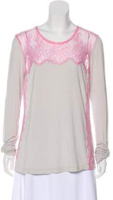 BCBGMAXAZRIA Lace-Trimmed Long Sleeve Top