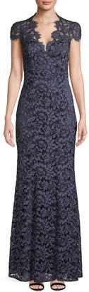 Eliza J Sleeveless V-Neck Lace Gown