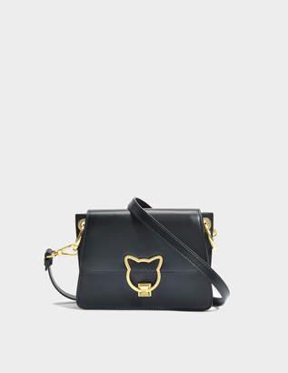 Karl Lagerfeld Kat Lock Crossbody Bag in Black Smooth Calf Leather