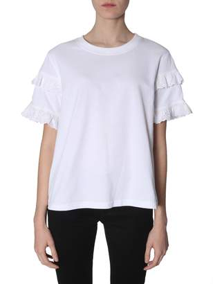 McQ Broderie-anglaise Ruffled-sleeve T-shirt