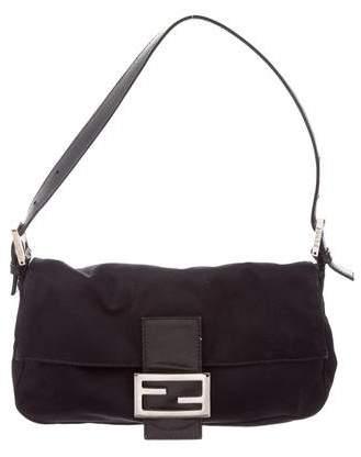 Fendi Leather-Trimmed Baguette