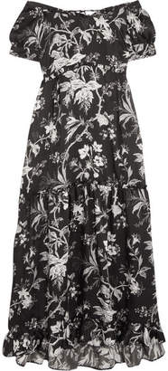 McQ Alexander McQueen - Off-the-shoulder Open-back Printed Satin-twill Midi Dress - Black $530 thestylecure.com