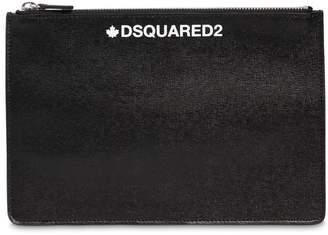 DSQUARED2 Printed Saffiano Leather Small Pouch