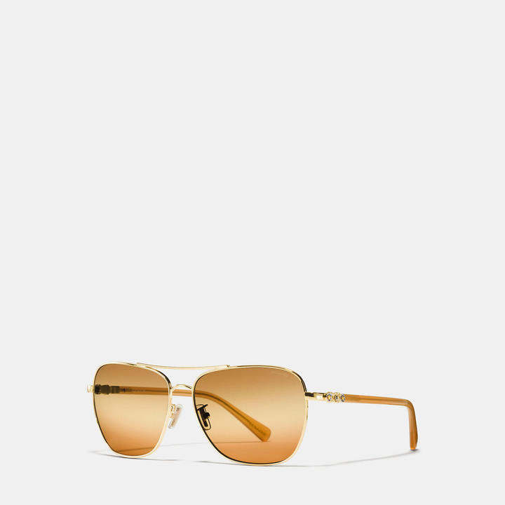 Coach  COACH Coach Daisy Rivet Square Pilot Sunglasses