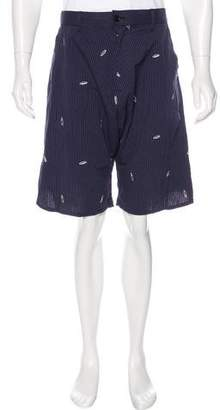Julien David Striped Embroidered Pod Shorts