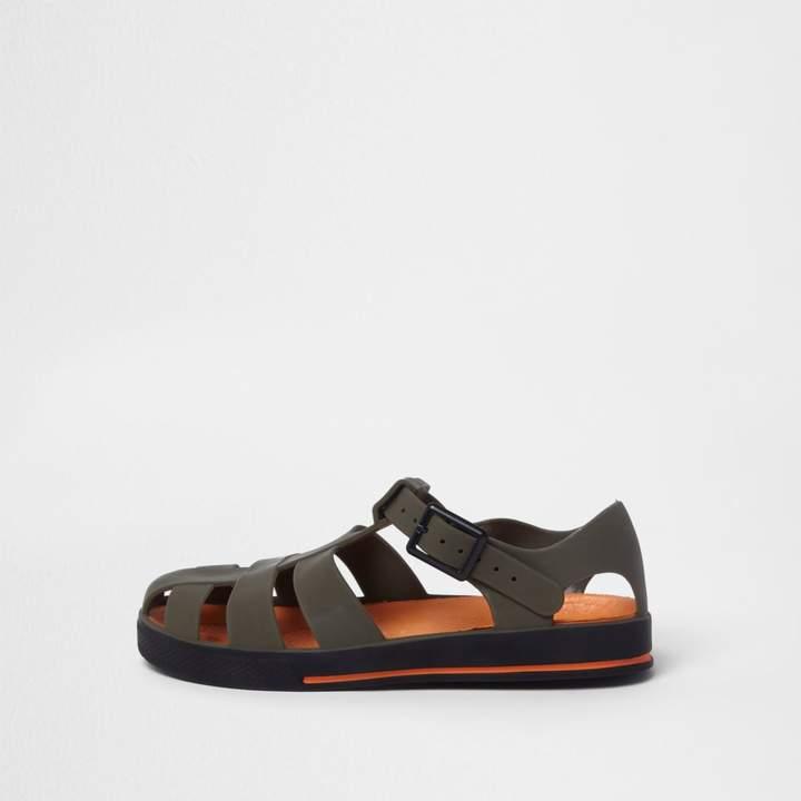 Boys Khaki jelly cage sandals