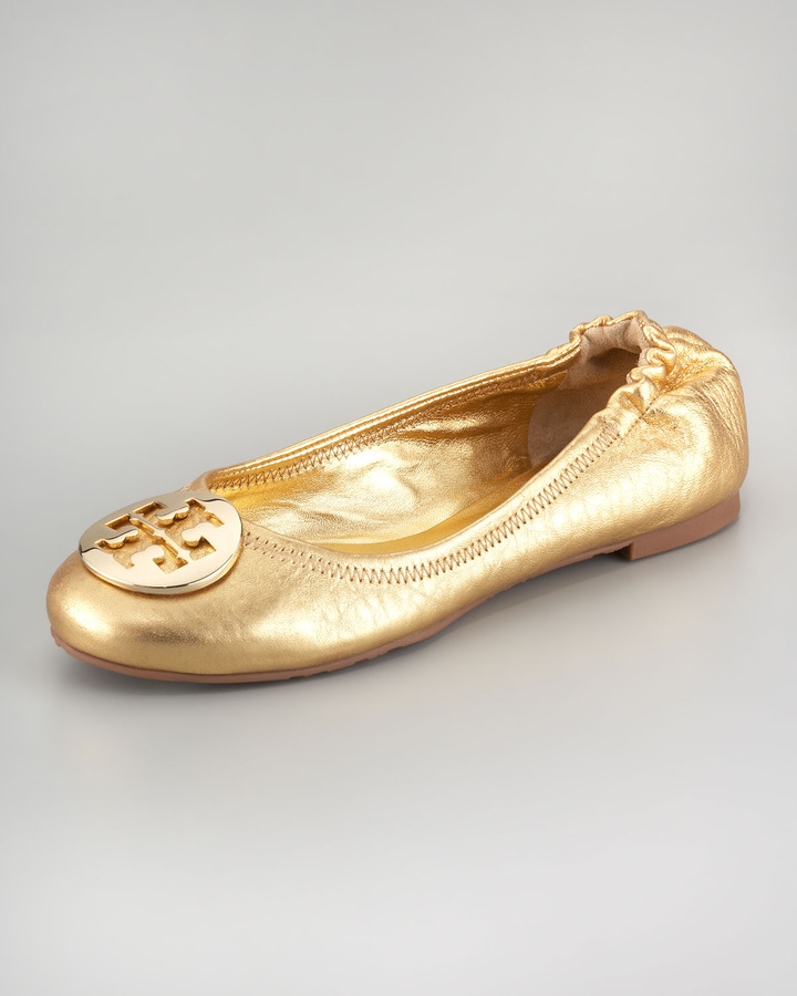 Tory Burch Reva Metallic Leather Ballerina, Gold