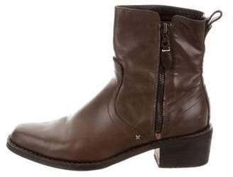 Rag & Bone Leather Round-Toe Ankle Boots Brown Leather Round-Toe Ankle Boots