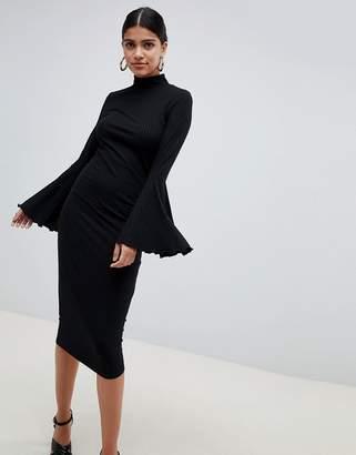 Asos DESIGN midi bodycon dress with flared sleeves
