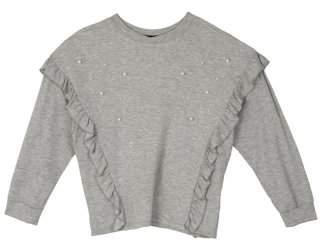 Amy Byer Pearl Embellished Ruffle French Terry Sweatshirt (Big Girls)