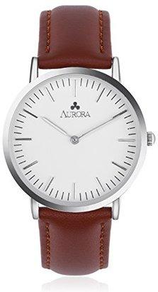 Aurora [オーロラ 腕時計 ウォッチ 36mm ホワイト文字盤 革ベルト レザー アナログ クラシック シンプル