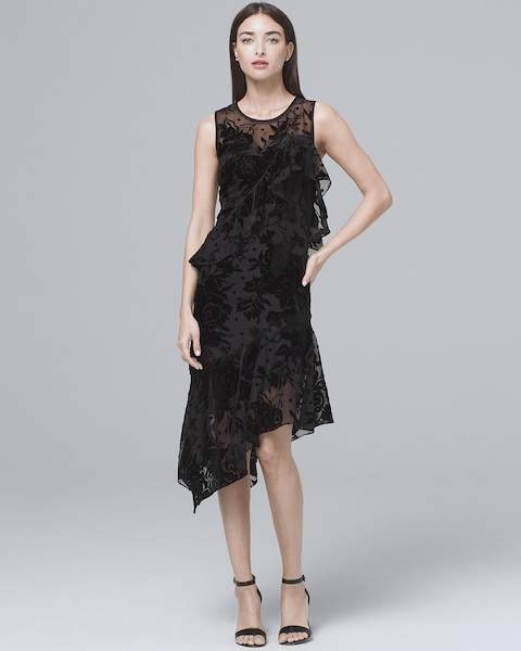 Whbm Velvet Burnout Black Midi Dress