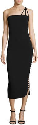 Azzaro Alpha One-Shoulder Midi Cocktail Dress, Black