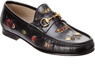 Gucci Embroidered Horsebit Leather Loafer