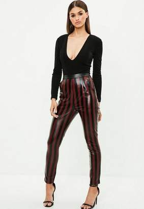 Missguided Burgundy Striped Faux Leather Slim Leg Pants