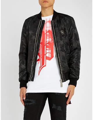 Philipp Plein Stud-embellished star-print shell bomber jacket