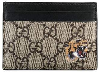 Gucci Tiger print GG Supreme card case