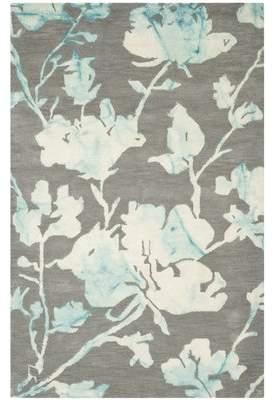 Ebern Designs Danny Gray/Turquoise Area Rug