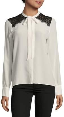 SET Women's Lace Appliqued Silk Top