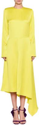 MSGM Long-Sleeve Split-Back Satin Dress