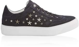 Jimmy Choo Navy Blue Denim Suede Ace Low Top Trainers