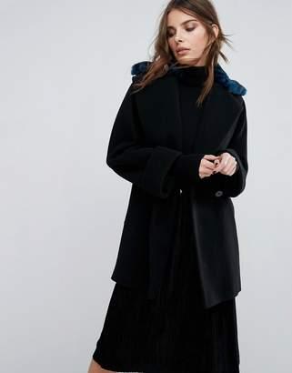 Helene Berman Yummy Coat with Faux Fur Leopard Collar $188 thestylecure.com