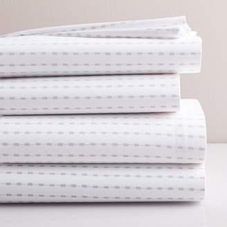 west elm Organic Mini Block Stripe Sheet Set - Frost Gray