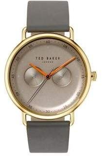 Ted Baker Multifunction Stainless Steel Leather-Strap Watch