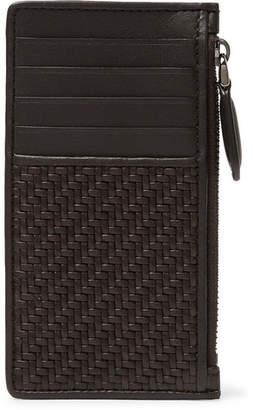 Ermenegildo Zegna Pelle Tessuta Leather Zipped Cardholder