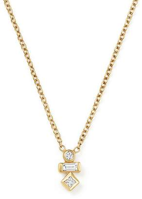Chicco Zoë 14K Yellow Gold Princess, Baguette and Round Diamond Necklace, 16""