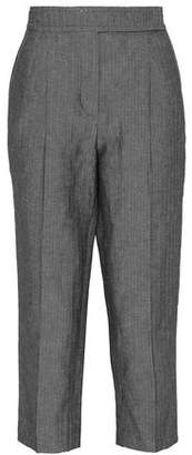 Brunello Cucinelli Cropped Herringbone Cotton And Linen-Blend Tapered Pants