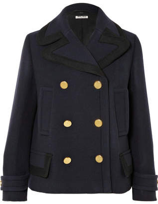 Miu Miu Double-breasted Wool Coat - Navy