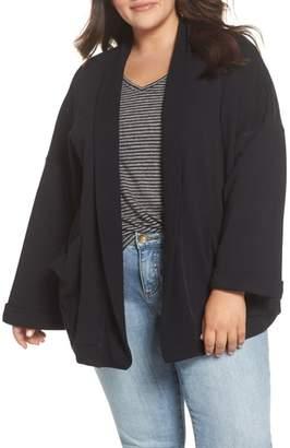 Caslon Knit Roll Sleeve Blazer
