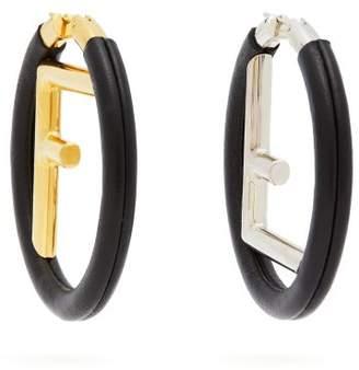 Fendi - Logo Leather Hoop Earrings - Womens - Black