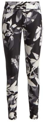 The Upside Floral Print High Rise Performance Leggings - Womens - Black White