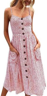 Fashion Story Women Floral Bohemian Spaghetti Strap Button Down Swing Midi Dress with Pockets