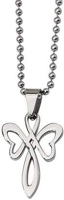 """Steel By Design Stainless Steel Polished Cross Pendant w/ 22"""" Chain"""