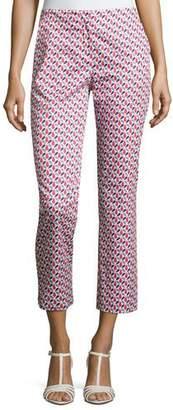Armani Collezioni Mosaic-Print Slim-Fit Cropped Pants, Multicolor