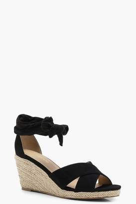 boohoo Wide Fit Cross Strap Wrap Espadrille Wedges