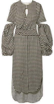 Hellessy Blair Wrap-effect Cutout Jacquard Midi Dress - Black