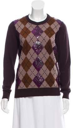 Salvatore Ferragamo Wool Embroidered Argyle Sweater