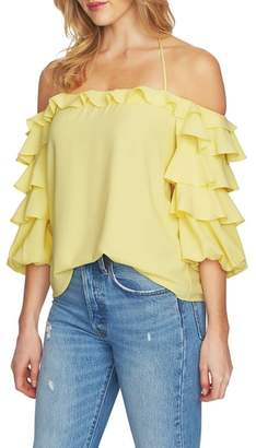 1 STATE 1.STATE Tiered Ruffle Sleeve Off the Shoulder Top