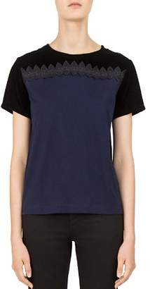 Gerard Darel Nancy Two-Tone Lace-Inset Tee