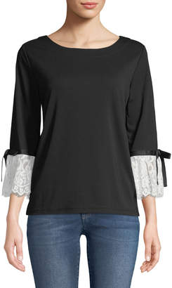 Karl Lagerfeld Paris 3/4-Sleeve Lace-Cuff Knit Top